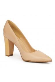 Pantofi dama din piele naturala bej 9149