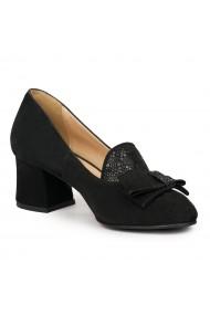 Pantofi dama din piele naturala neagra 9163