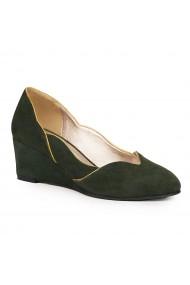 Pantofi dama din piele naturala verde 9172