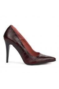 Pantofi dama din piele naturala maro 9173