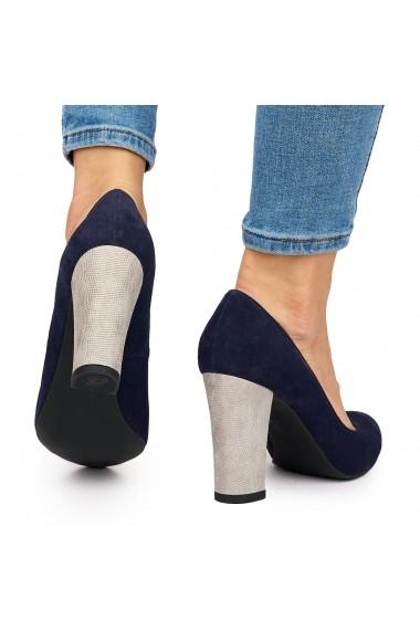 Pantofi dama din piele naturala bleumarin 9182