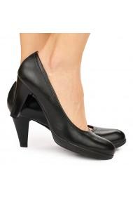 Pantofi dama toc gros din piele naturala 9187