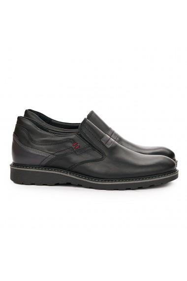 Pantofi sport barbati casual din piele naturala neagra 7092