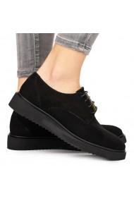 Pantofi dama casual din piele naturala neagra 8106