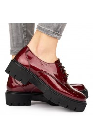 Pantofi dama casual din piele naturala rosie 8109