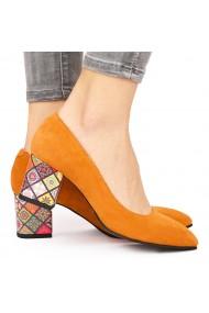 Pantofi dama din piele naturala portocalie 9208