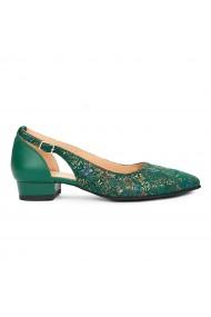 Pantofi dama din piele naturala verde 9222