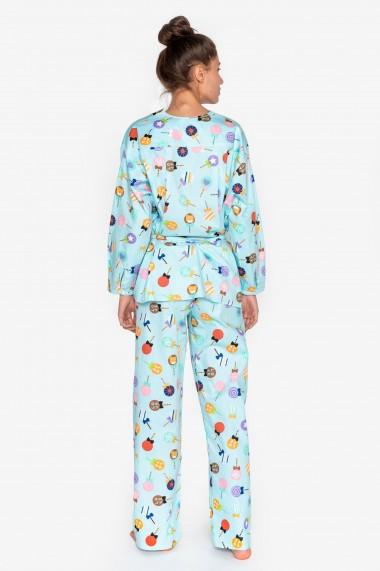Pijama din bumbac cu maneca lunga si pantalon lung