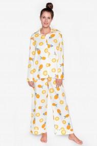 Pijama supradimensionata din bumbac cu maneca lunga si pantalon lung