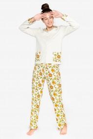Pijama de bumbac OEKO-TEX® cu maneca luna si pantalon lung