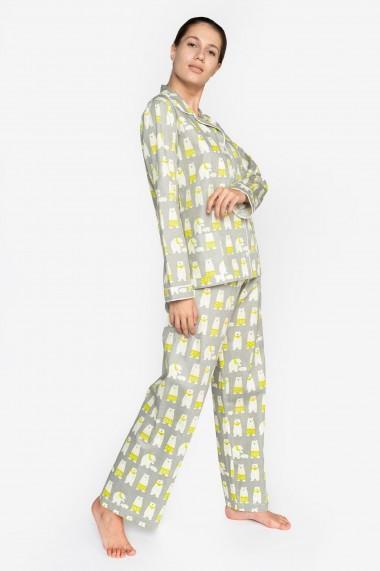 Pijama de bumbac plin cu maneca lunga si pantalon lung