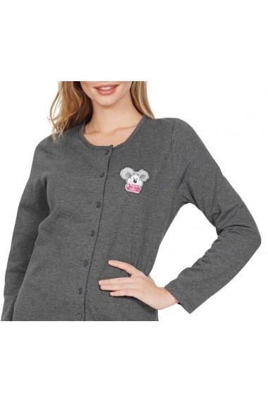 Pijama dama din bumbac model Koala cu nasturi maneca lunga si pantalon lung