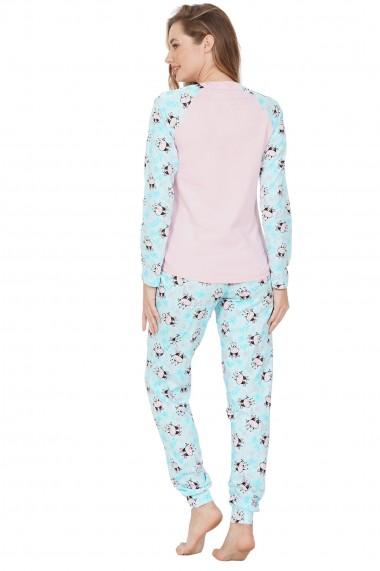 Pijama dama din bumbac model vacute cu maneca lunga si pantalon lung