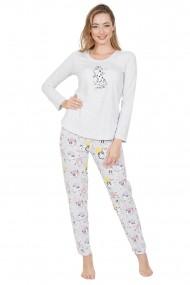 Pijama dama din bumbac model pisici cu maneca lunga si pantalon lung