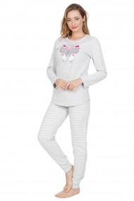 Pijama dama din bumbac model fluturas cu maneca lunga si pantalon lung