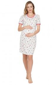 Camasa de noapte sarcina si alaptare cu model floricele