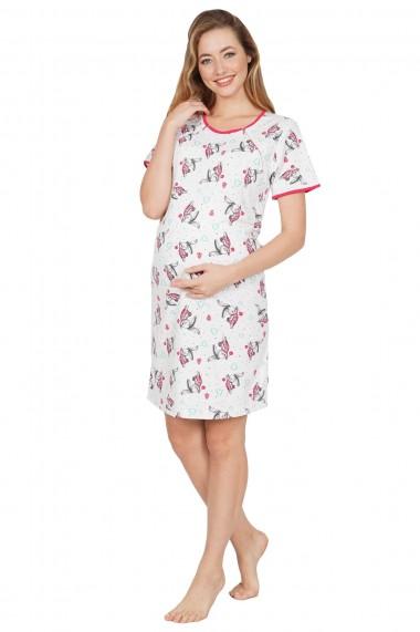 Camasa de noapte sarcina si alaptare cu model iepurasi