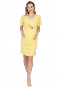 Camasa de noapte sarcina si alaptare cu model albinuta