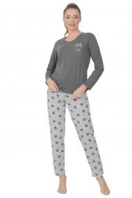 Pijama dama din bumbac model pisicute cu maneca lunga si pantalon lung