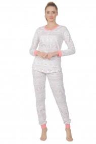 Pijama dama din bumbac motive Craciun cu maneca lunga si pantalon lung