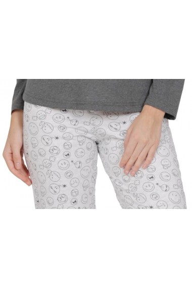 Pijama dama din bumbac model smiley face cu maneca lunga si pantalon lung