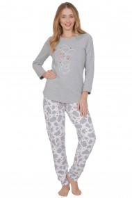 Pijama dama din bumbac model elefanti cu maneca lunga si pantalon lung