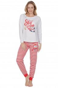 Pijama dama din bumbac model pinguin cu maneca lunga si pantalon lung