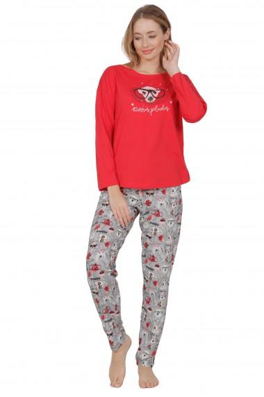 Pijama dama din bumbac model catelusi ochelaristi cu maneca lunga si pantalon lung