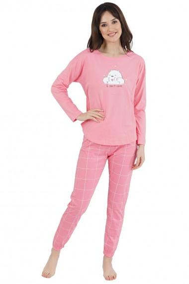 Pijama dama din bumbac model norisor cu maneca lunga si pantalon lung