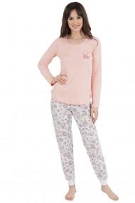 Pijama dama din bumbac model Cactus cu maneca lunga si pantalon lung