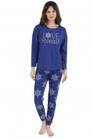 Pijama dama din bumbac model Mandala cu maneca lunga si pantalon lung
