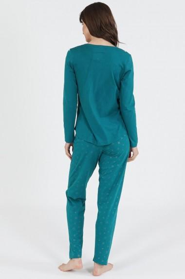 Pijama dama din bumbac model Smarald bear cu maneca lunga si pantalon lung