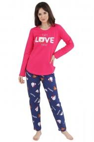 Pijama dama din bumbac model Love bear cu maneca lunga si pantalon lung