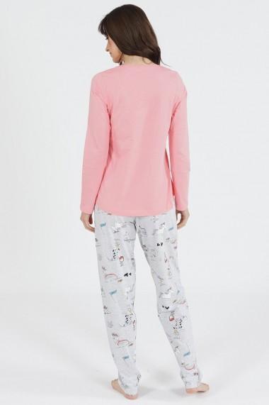 Pijama dama din bumbac model Pocket Puppy cu maneca lunga si pantalon lung