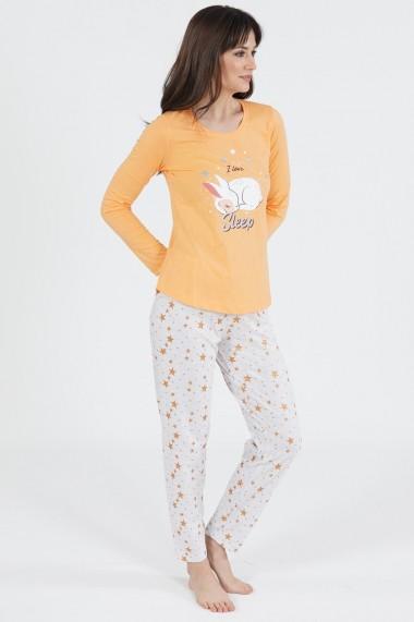 Pijama dama din bumbac model Iepuras somnoros cu maneca lunga si pantalon lung
