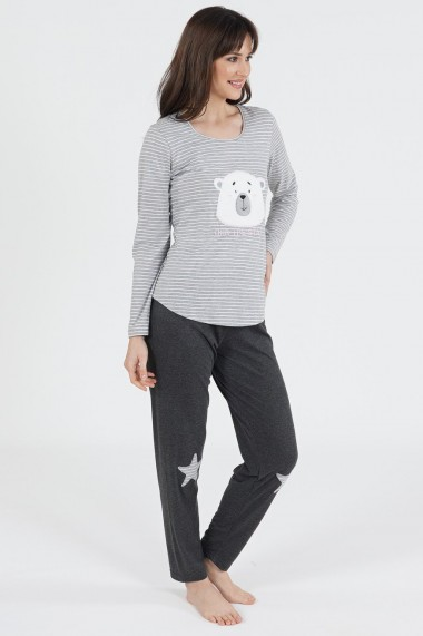 Pijama dama din bumbac model Ursulet cu maneca lunga si pantalon lung