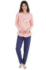 Pijama dama din bumbac model Bang cu maneca lunga si pantalon lung