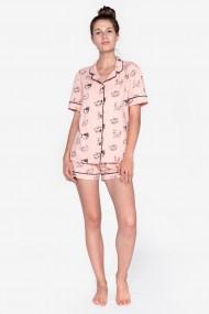 Pijama din bumbac elastic cu maneca scurta si pantalon scurt