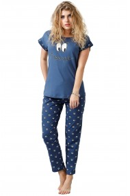Pijama din bumbac tricou cu maneca scurta si pantalon lung