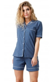 Pijama din bumbac cu maneca scurta si pantalon scurt