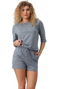 Pijama din bumbac tricou cu maneca 3/4 si pantalon scurt