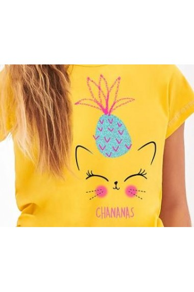 Pijama din bumbac pentru copii tricou cu maneca scurta si pantalon scurt