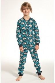 Combinezon din bumbac pentru copii cu maneca lunga si pantalon lung