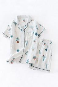 Pijama din bumbac cu maneca scurta si pantalon scurt model cactus