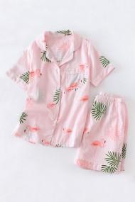 Pijama din bumbac cu maneca scurta si pantalon scurt model flamingo