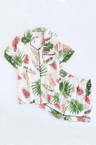 Pijama din bumbac cu maneca scurta si pantalon scurt model frunze bambus colorat