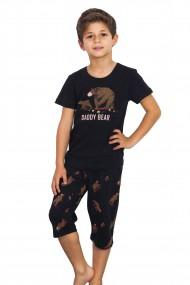 Pijama din bumbac pentru copii tricou cu maneca scurta si pantalon scurt ''Daddy Bear''