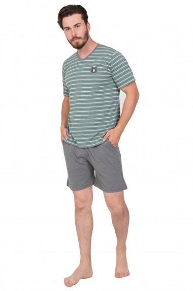 Pijama barbateasca tricou cu maneca scurta si pantalon scurt