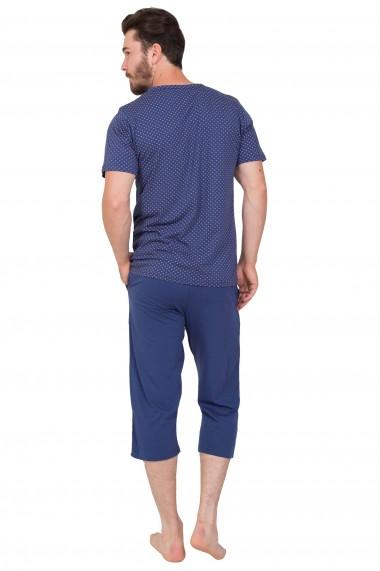 Pijama barbateasca de bumbac tricou cu maneca scurta si pantalon 3/4