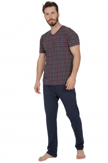 Pijama barbateasca model carouri colorate tricou cu maneca scurta si pantalon lung